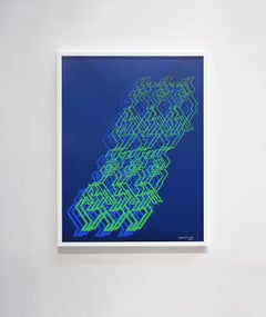 """Kinetic Modern Abstract Painting - Blue Geometric Paper Collage - """"Graphisme"""""""
