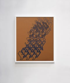 """Kinetic Modern Abstract Painting - Brown Geometric Paper Collage - """"Graphisme"""""""