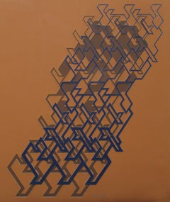 "Kinetic Modern Abstract Painting - Brown Geometric Paper Collage - ""Graphisme"""
