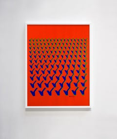 """Kinetic Modern Abstract Painting - Red Geometric Paper Collage - """"Y"""""""