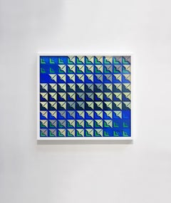 """Kinetic Modern Abstract Painting - Blue Geometric Paper Collage - """"Carré"""""""