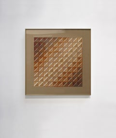 """Kinetic Modern Abstract Painting Brown Geometric Paper Collage """"Carré"""""""