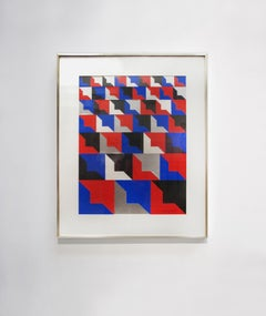 """Kinetic Modern Abstract Painting Blue Geometric Paper Collage """"Carré"""""""