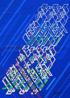 "Kinetic Modern Abstract Painting Blue Geometric Paper Collage ""Graphisme"""
