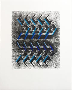 "Kinetic Modern Abstract Painting Geometric Paper Collage on Silkscreen ""Rythmes"""