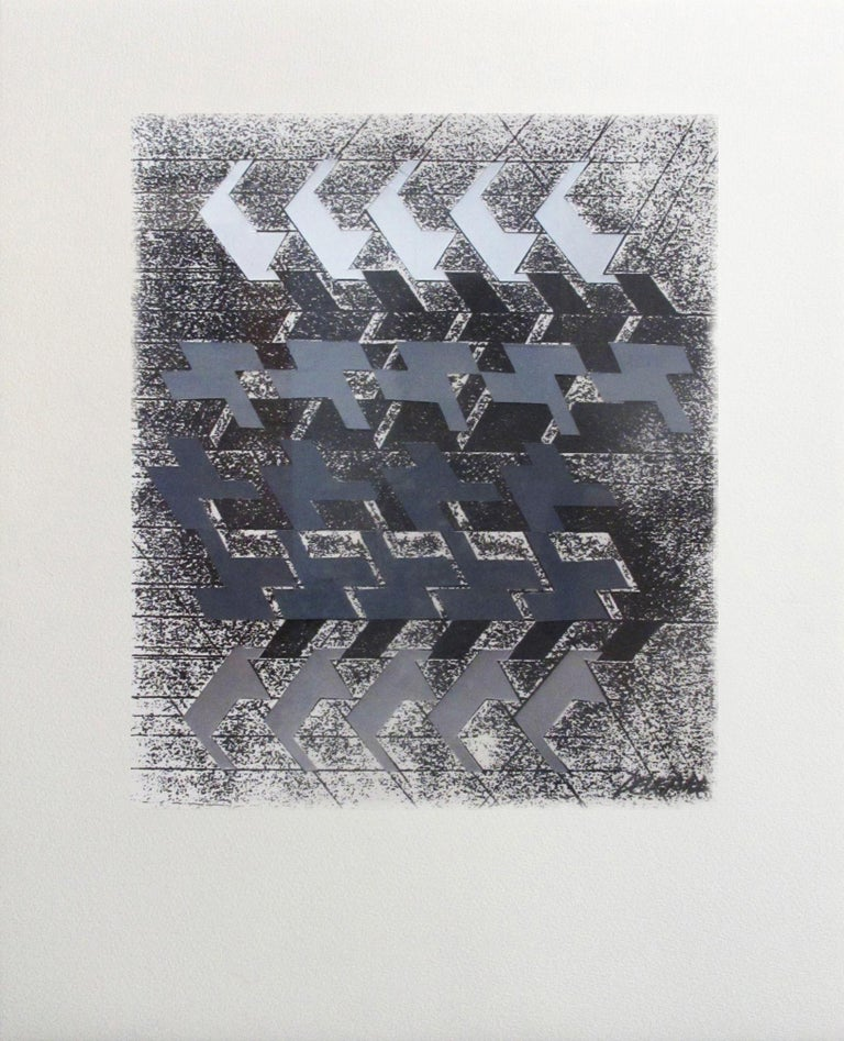 Kinetic Modern Abstract Painting Geometric Paper Collage on Silkscreen
