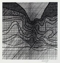 "Kinetic Modern Abstract Geometric Print Silkscreen ""À l'écoute de la terre"""