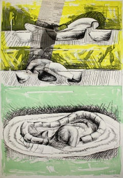 ANDRÉS NAGEL: Untitled 5. Limited edition etching & collage on paper. Conceptual