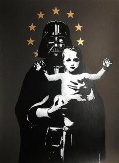 FAKE: My Vader (black)  - Stencil & spray paint on paper Street art, Graffiti