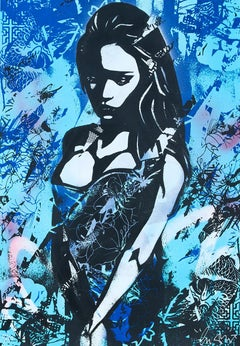 COPYRIGHT: Sadness (Blue)  - Screen print, acrylic & spray Street art, Graffiti