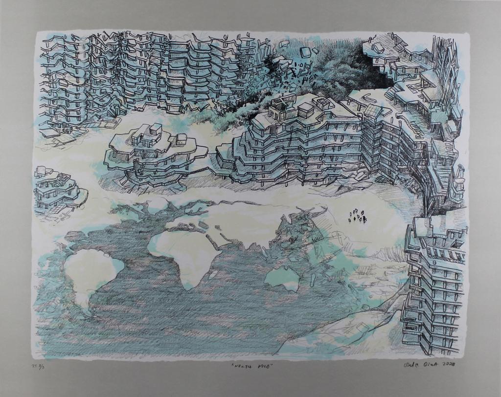 OSCAR OIWA: North Pole. Limited edition Lithograph. Surrealism, Architecture