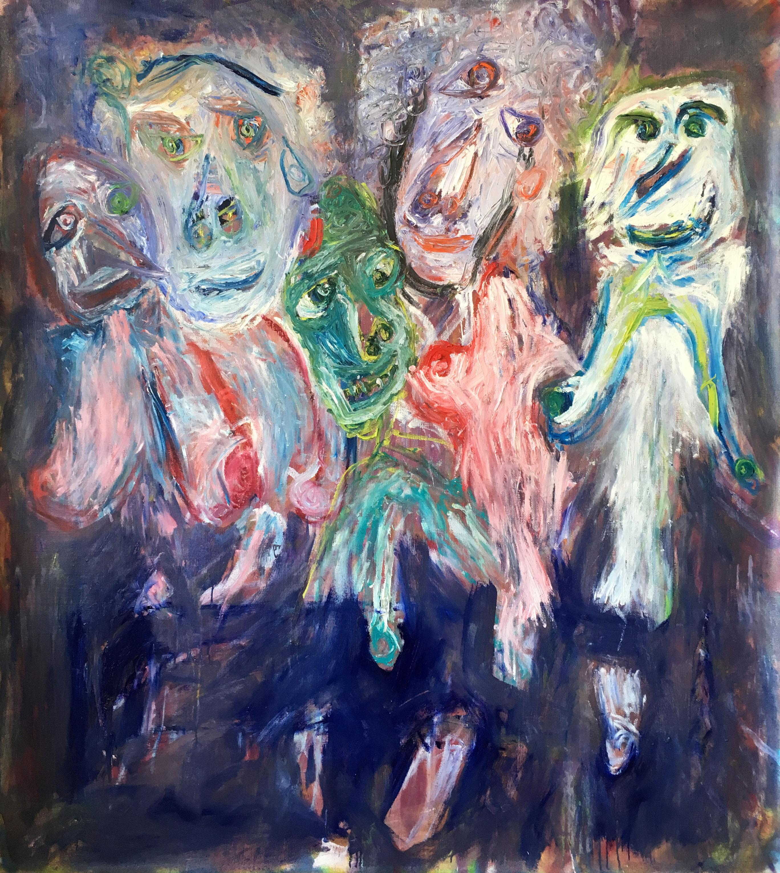 Isa, Génie, Catou, Patoche and Didine - Julien Wolf, 21st Century, Painting