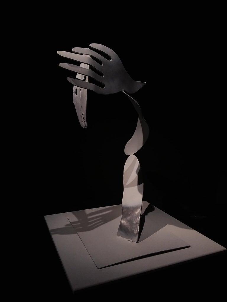 A bird without a song- Haude Bernabé, 21st Century, Contemporary metal sculpture - Black Figurative Sculpture by Haude Bernabé