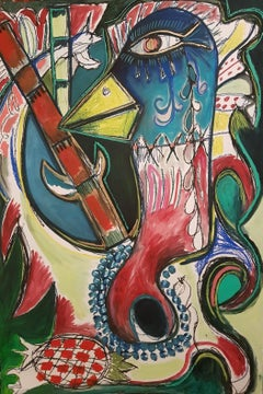 The bamboos' rare bird -Timothy Archer, 21st Century painting, Figurative art