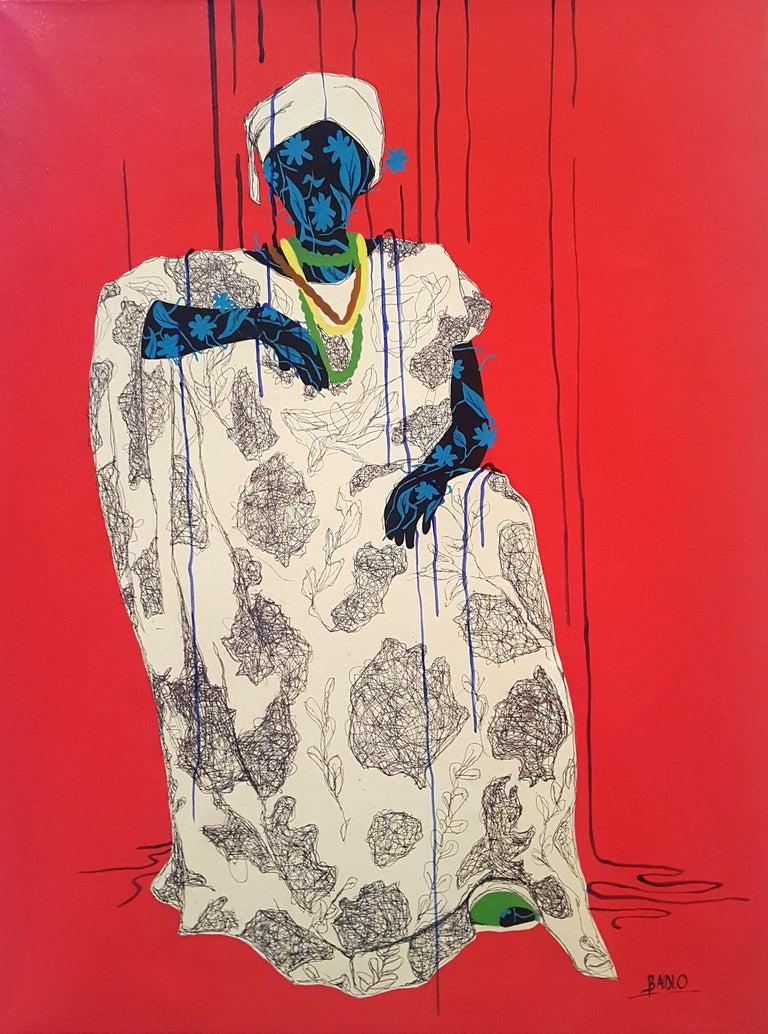 Women around us III - Moustapha Baïdi Oumarou, 21st Century, African painting - Painting by Moustapha Baïdi Oumarou