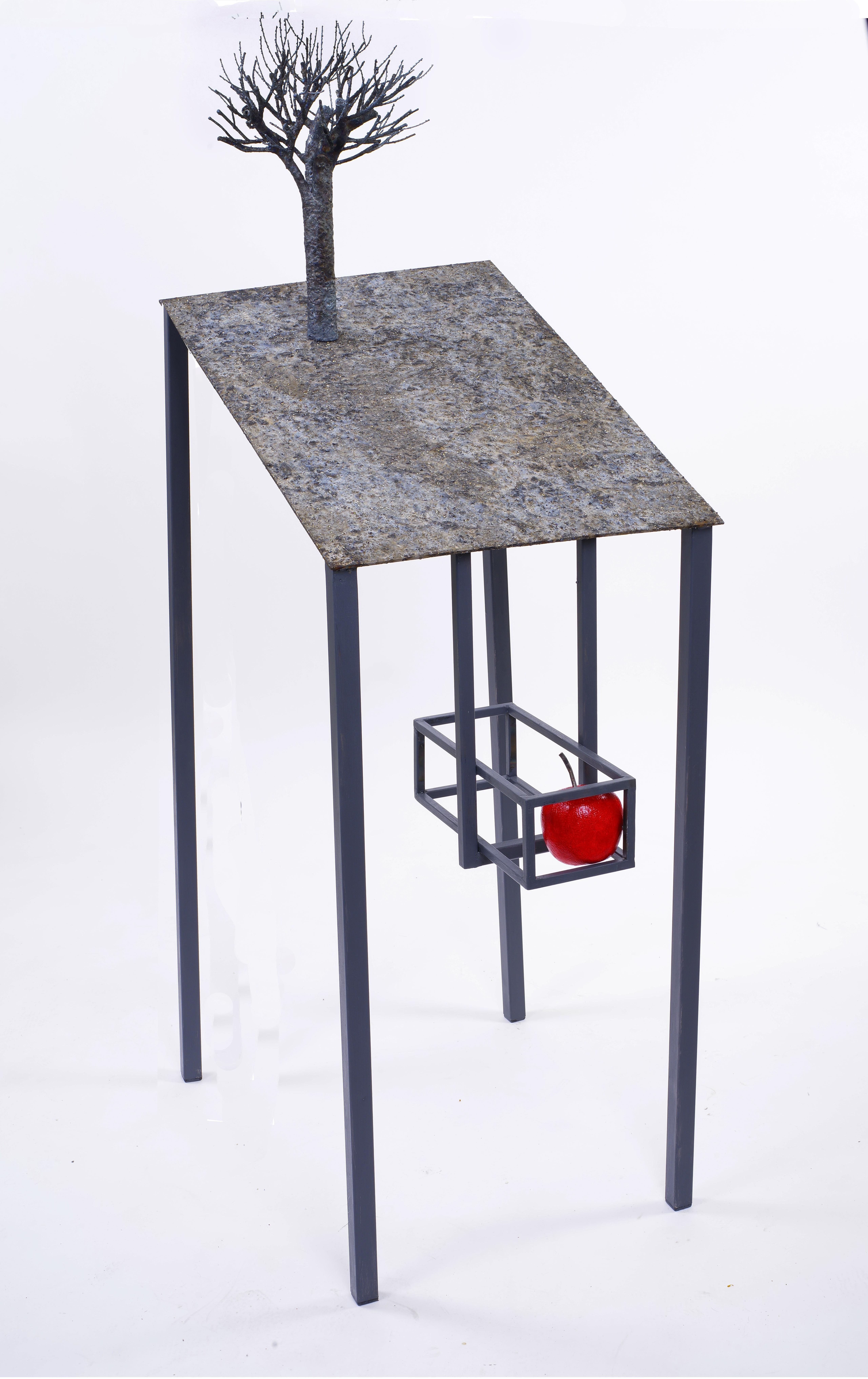 Lectern with apple - Jean-Paul Réti, 21st Century, Contemporary metal sculpture