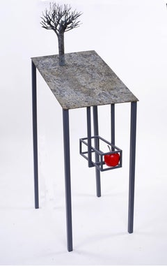 Lectern with apple - Jean-Paul Réti, 21st Century, Contemporary metal sculpture
