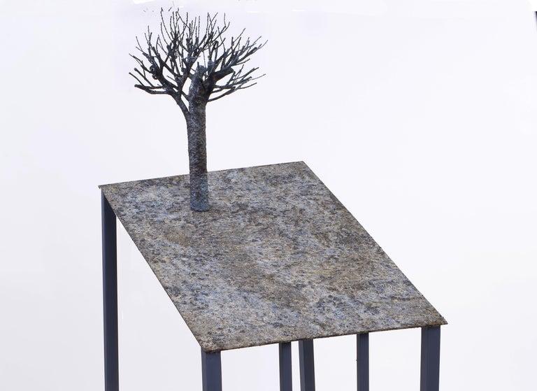 Lectern with apple - Jean-Paul Réti, 21st Century, Contemporary metal sculpture - Gray Still-Life Sculpture by Jean-Paul Réti