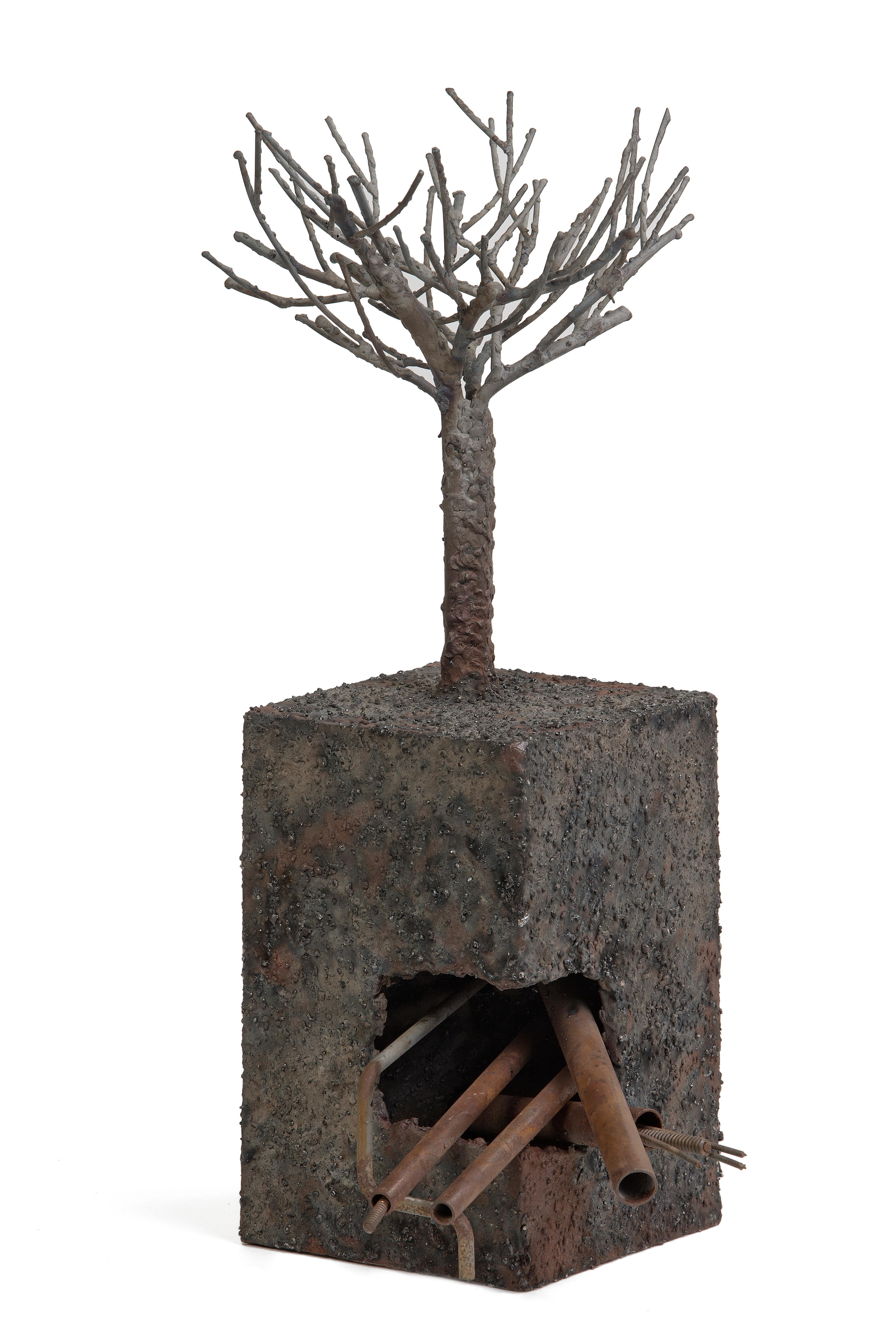 Tree and subsoil, the city - Jean-Paul Réti, Contemporary metal sculpture