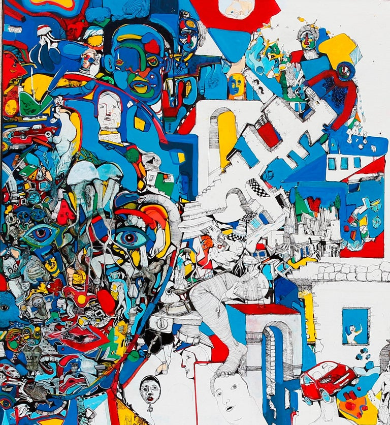 Paradigm - Antoine Néron Bancel, 21st Century, Contemporary figurative painting - Beige Figurative Painting by Antoine Néron Bancel