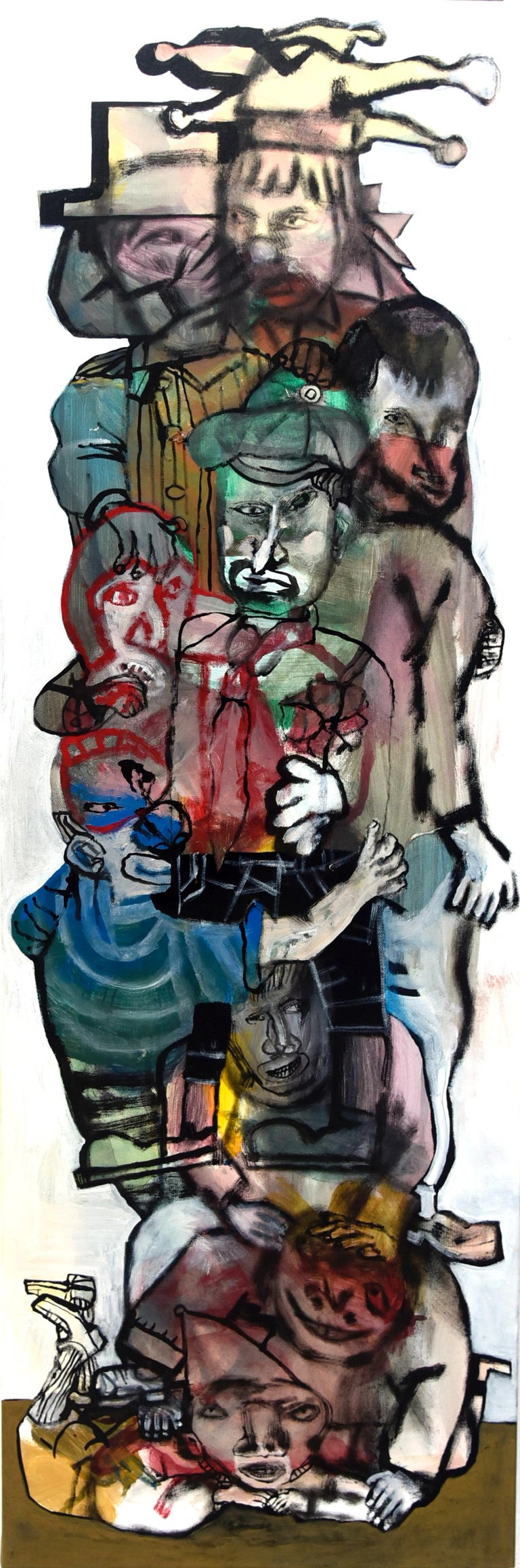 The acrobats III - Sergio Moscona, 21st Century, Figurative painting - Painting by Sergio Moscona
