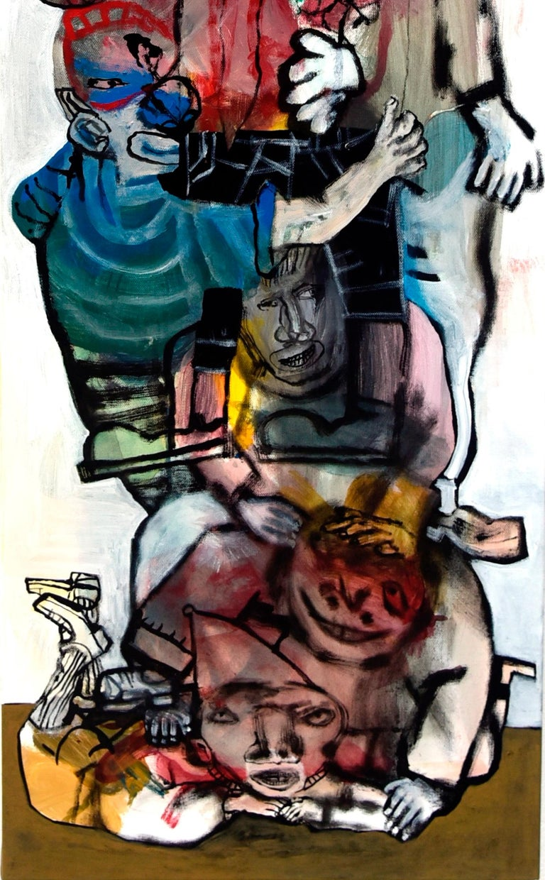 The acrobats III - Sergio Moscona, 21st Century, Figurative painting - Beige Portrait Painting by Sergio Moscona