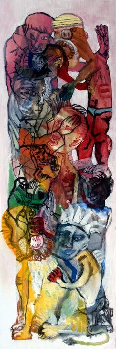 The acrobats IV - Sergio Moscona, 21st Century, Figurative painting