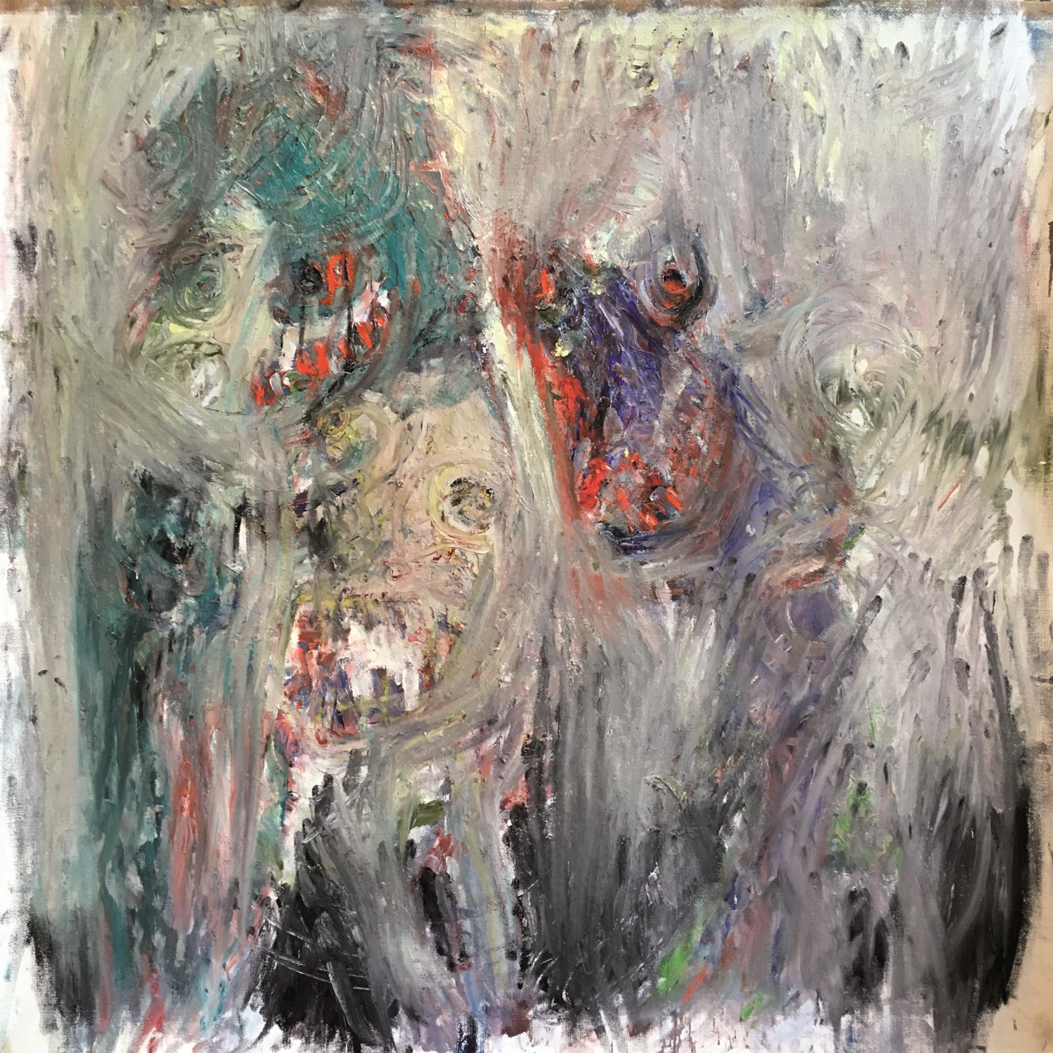 From here 2 hours and a half' wait! Julien Wolf Contemporary Expressionist Paint