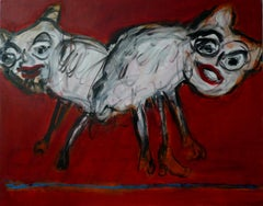 Beasts on a red background - Joanna Flatau, Contemporary Expressionist painting