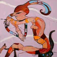 Woman driving - Simone Picciotto, 21st Century, Contemporary figurative painting