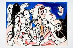 Dishevelled wandering stars -Daniel Erban, 20th Century, Outsider art painting