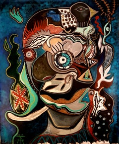 Big fluffy head - Timothy Archer 21st Century Painting Contemporary Figurative