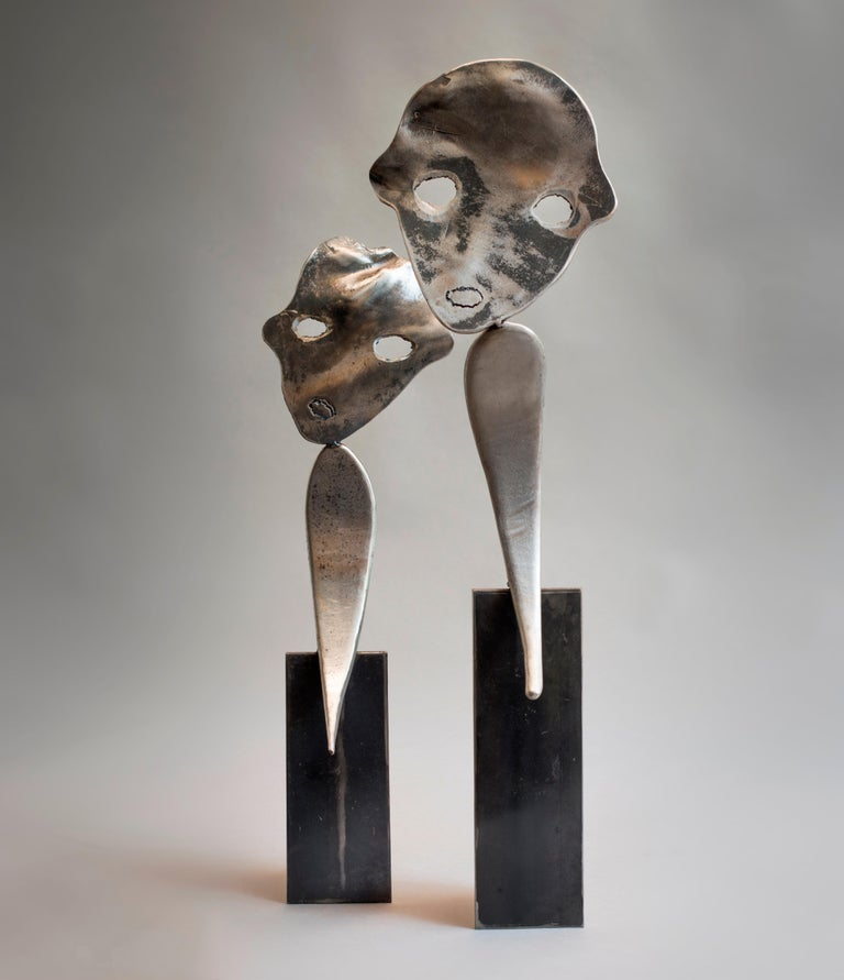 Twins - Haude Bernabé, 21st Century, Contemporary metal sculpture, figure - Gray Abstract Sculpture by Haude Bernabé