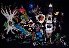 Dark thoughts - Barbara d'Antuono, 21st Century Contempory textile art hand sewn