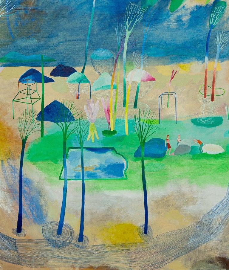 Change of paradigm #3 - Hélène Duclos, 21st Century, Contemporary figurative - Gray Landscape Painting by Hélène Duclos