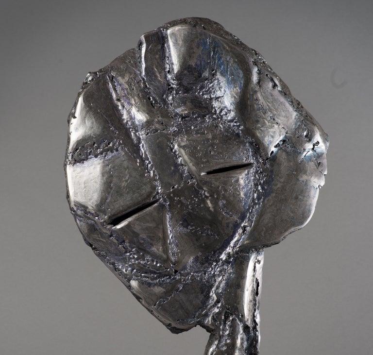 Grey head - Haude Bernabé, 21st Century, Contemporary metal sculpture, figure - Gray Abstract Sculpture by Haude Bernabé