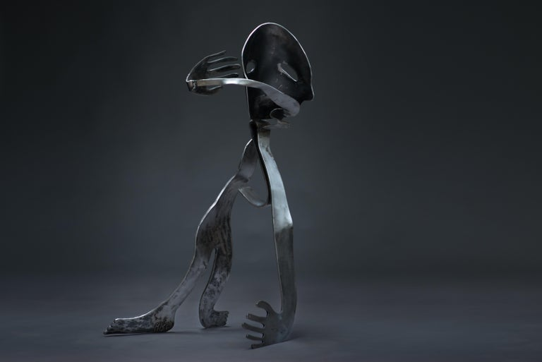 The Lunatic - Haude Bernabé, 21st Century, Contemporary metal sculpture, figure - Black Abstract Sculpture by Haude Bernabé