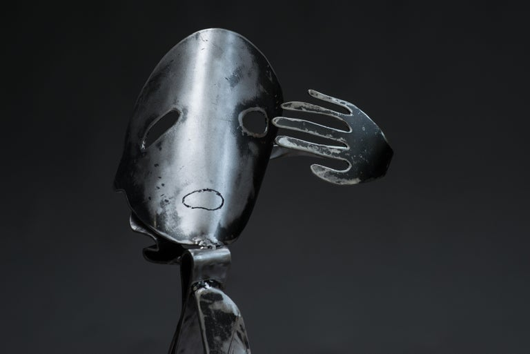 Polished steel sculpture Unique work Signed and dated on the base  Born in Brest and with a scientific background, Haude Bernabé has devoted herself to art since the early 1990s. Her first passion was art, the second one biology. In these two