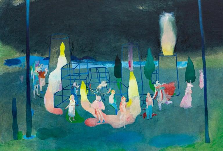 Incoherence of compulsory ways #1 - Hélène Duclos, Contemporary figurative paint - Blue Figurative Painting by Hélène Duclos