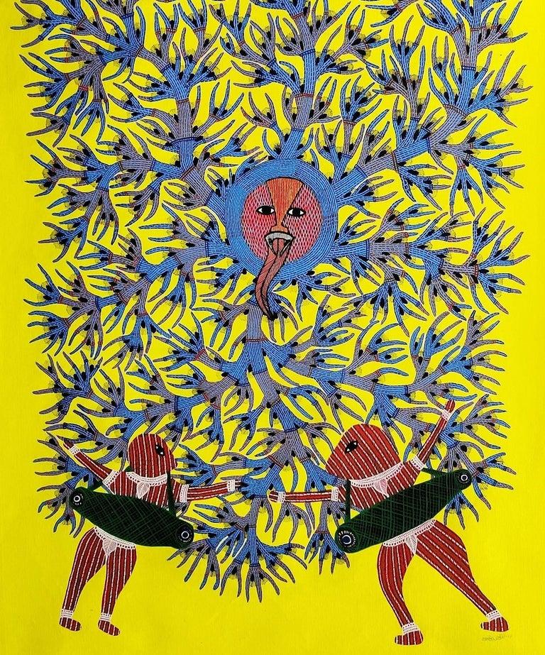 Gram Devi - Ram Singh Urveti, 21st Century, Indian contemporary painting - Yellow Animal Painting by Ram Singh Urveti