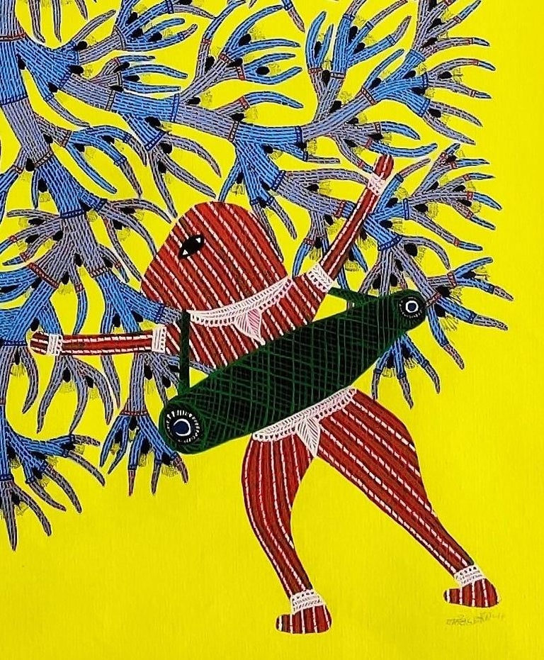 """Acrylic paint and ink on canvas  Unique work Signed lower right Ram Singh Urveti is part of the Gond tribe in the center of India.  """"Gram devi"""", also called """"Sodhe Danav"""", is the powerful spirit that is able to bring a dead child alive .The two men"""