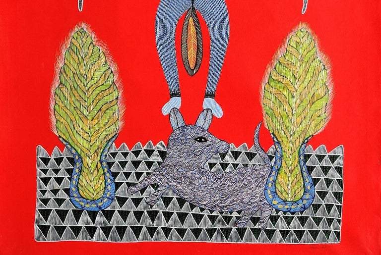 Fulabari Devi - Ram Singh Urveti, 21st Century, Indian contemporary painting - Red Animal Painting by Ram Singh Urveti