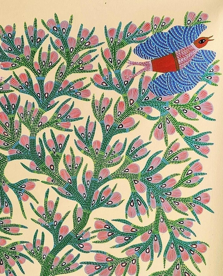 Acrylic paint and ink on canvas  Unique work Signed lower right Ram Singh Urveti is part of the Gond tribe in the center of India.  This painting depicts birds and trees in nature.  It shows the symbiotic relationships between animals and trees.