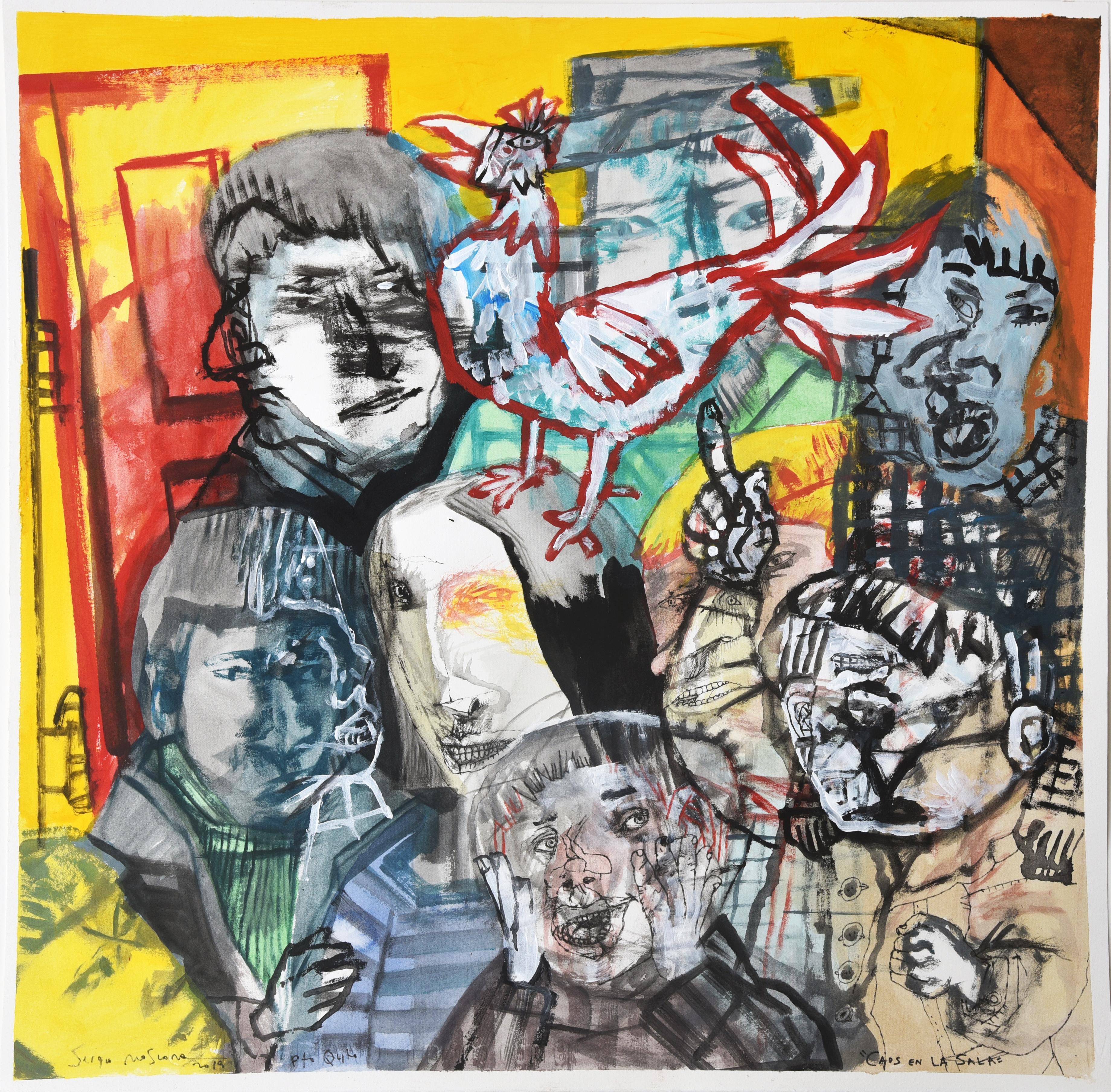 Caos en la sala - Sergio Moscona, 21st Century, Figurative painting