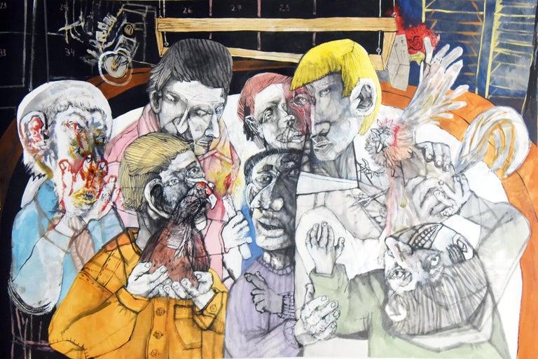 Fin de fiesta de pueblo - Sergio Moscona, 21st Century, Figurative painting - Painting by Sergio Moscona
