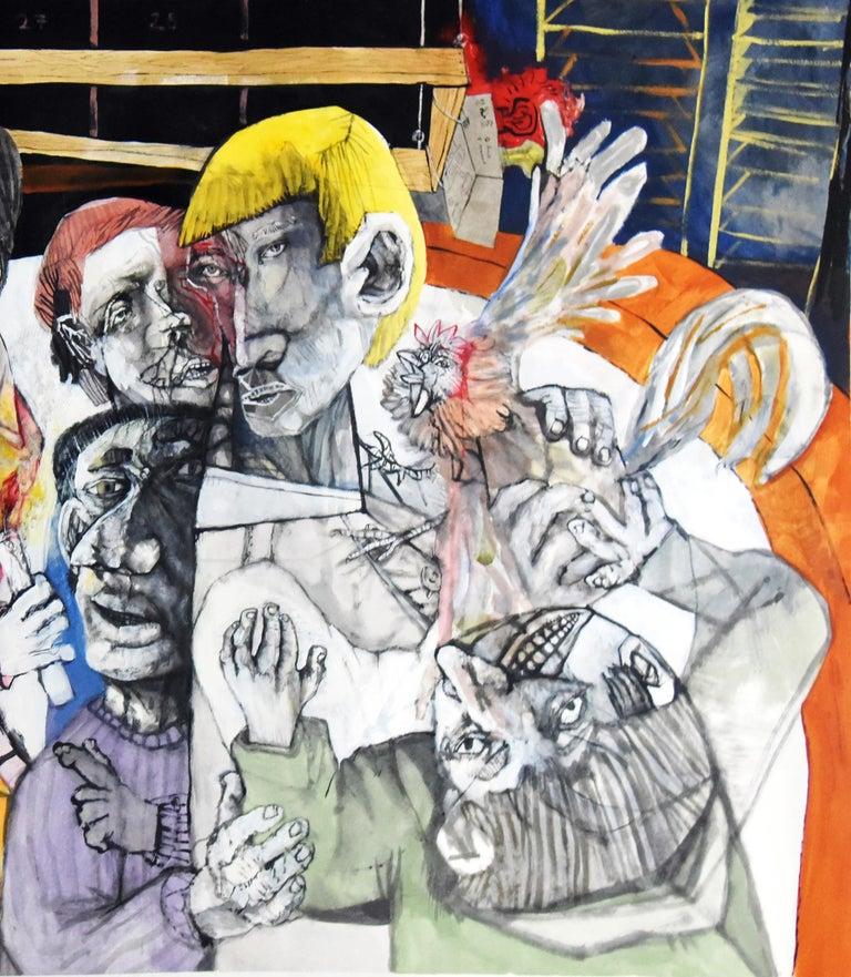 Fin de fiesta de pueblo - Sergio Moscona, 21st Century, Figurative painting - Beige Portrait Painting by Sergio Moscona