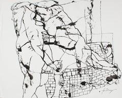 The prisoner - Lajos Szalay, 20th Century, Figurative drawing