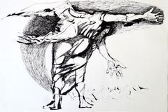Icarus - Lajos Szalay, 20th Century, Figurative drawing