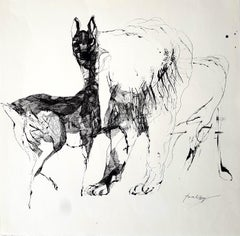 Hind and lion - Lajos Szalay, 20th Century, Figurative drawing