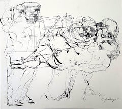 Death and the maiden - Lajos Szalay, 20th Century, Figurative drawing